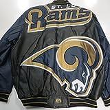 St Louis/Los Angeles Rams Mens X-Large Leather Embroidered Mega Logo Full Zip Jacket ARAM 42 XL