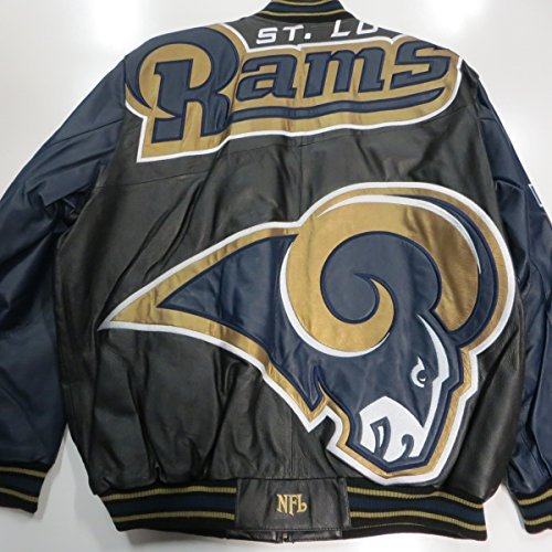 St Louis/Los Angeles Rams Mens X-Large Leather Embroidered Mega Logo Full Zip Jacket ARAM 42 XL by G-III Sports