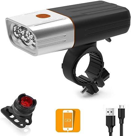 BESTSUN Luz de Bicicleta USB Recargable, 3000 lúmenes Luces ...