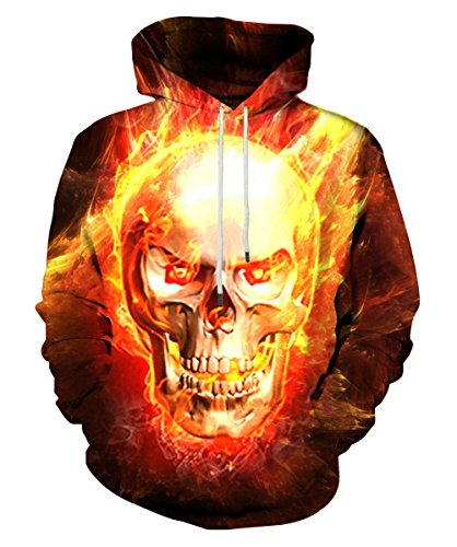 Neemanndy Womens 3D Printed Design Fire and Skull Pattern Casual T Shirt Sweatshirt Hoodie with Pocket, XX-Large Pullover Men T Shirt