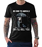 Keanu Reeves Be Kind to Animals T-Shirt, Funny Graphic Men's Women's Tee (L - Male) Black