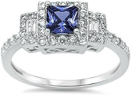 Simulated Sapphire .925 Sterling Silver Ring Sizes 4-12