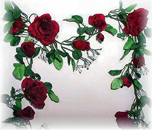 Burgundy Wine Rose Garland Silk Wedding Flowers Arch Gazebo Decorations Vines