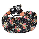 LIFEMATE Scarf Camera Strap,DSLR Camera Strap Universal Neck Strap,Fabric of Bohemia Floral Scarf Camera Strap (Black red Flower)