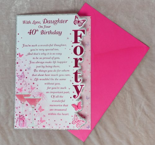 With Love Daughter On Your 40th Birthday Card Beautiful Verse