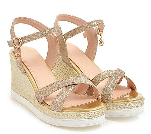 Aisun Women's New Ankle Strap Sequins Wedge Heels Sandals Gold 4AtWEAHvS