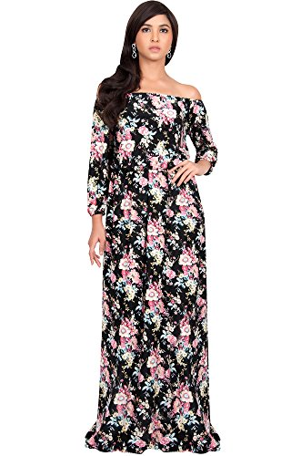 KOH KOH Womens Off Shoulder Summer Floral Print Cute Boho Long Sleeve Maxi Dress