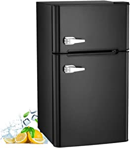 AGLUCKY 3.2 Cu.ft Compact Refrigerator Double Door Mini Fridge with Top Door and Removable Glass Shelves, Beverage and Food Storage Cooler for Office, Dormitory, Home or Apartment (Black)