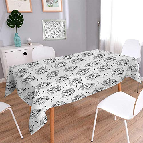 Anmaseven Black and White Rectangle Printed Tablecloth Cute Dog Pattern with Buckle and Collar Monochrome House Pet Illustration Flannel Tablecloth Black White Size: W70 x L104 -
