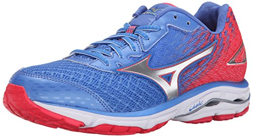 Mizuno Women's Wave Rider 19 Running Shoe, Palace Blue/Silver, 7 B US