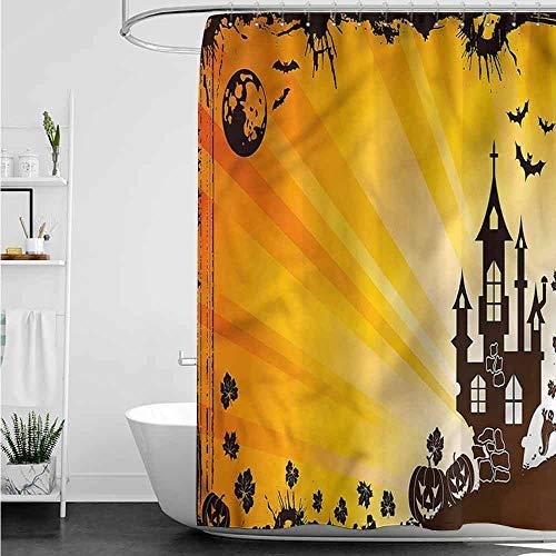 Shower Curtains for Bathroom Music Halloween,Grunge Gothic Castle Bat W60 x L72,Shower Curtain for Women]()