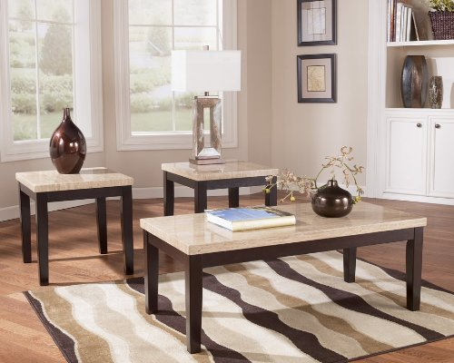 Travertine Top Coffee Table (Faux Travertine 3-in-1 Occasional Table Set)