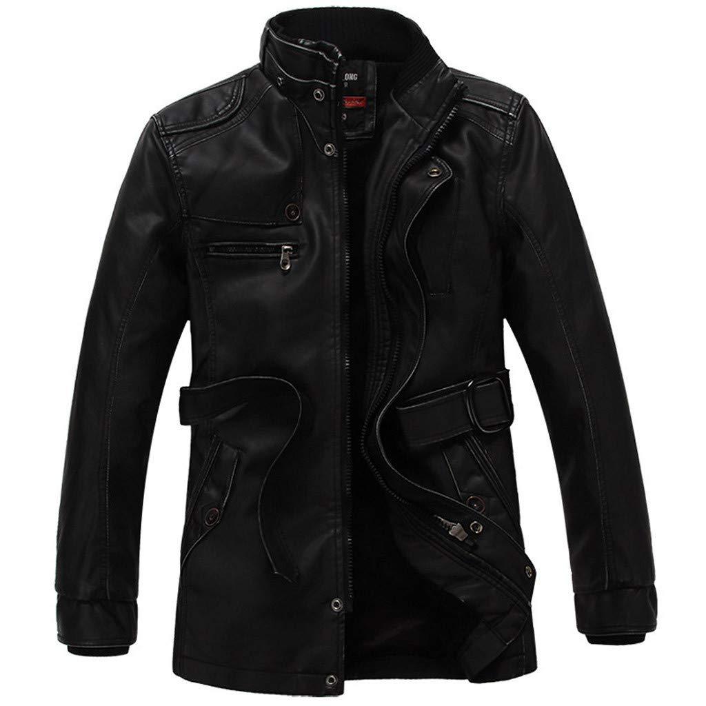 Fitfulvan Men's Plus Velvet Mid-Length Leather Coat Waterproof Stand Collar Retro Jacket with Belt Black