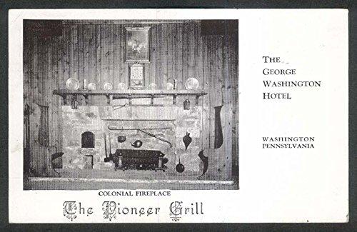 Pioneer Grill Colonial Fireplace George Washington Hotel PA postcard 1950
