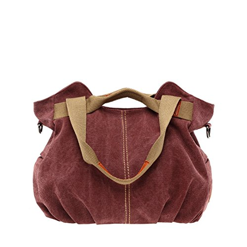 KissAir(TM) Women's Retro Vintage Leisure Canvas Hobo Bag Crossbody Daily Purse Dark Red