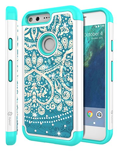 Google Pixel XL Case, Pixel XL Bling Case, Style4U Studded Rhinestone Crystal Bling Hybrid Armor Case Cover for Google Pixel XL with 1 Style4U Stylus [Flower White/Teal]