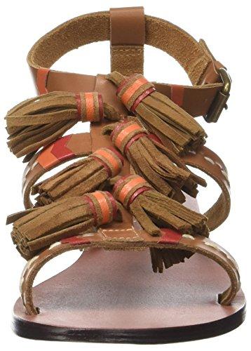 L'ATELIER TROPEZIEN Sandale Pompom - Sandalias de Gladiador Mujer marrón (tan)