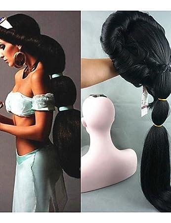 Fácil y forma cómoda y pelucas europeo pelo cosplay peluca Anime Aladdin Jazmín Princesa Larga Negra peluca, clásica Halloween Mujeres Cosplay peluca: ...