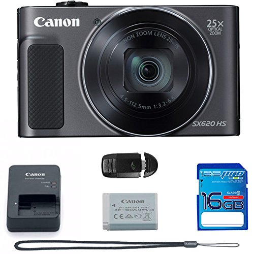 Canon PowerShot SX620 HS Digital Camera (Black) + Deal-Expo Bundle.