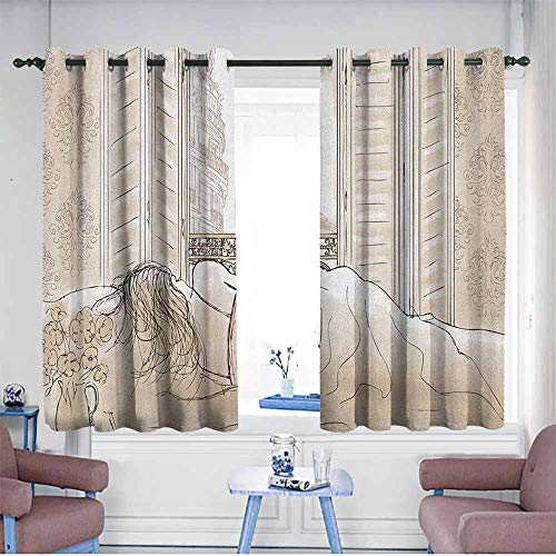 AndyTours Doorway Curtains,Paris Parisian Woman Sleeping with The View of Eiffiel Tower from Window Romance Skecthy Modern,Room Darkening, Noise Reducing,W55x39L Cream ()