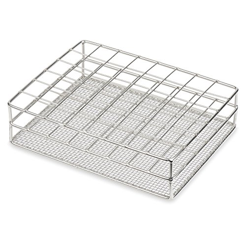 Stainless Steel Test Tube Rack, 25mm, 48 Place, Wire Constructed, Karter Scientific 234P3 (Single)