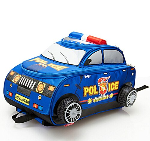 Price comparison product image 3D Police Car Style Baby Boys Schoolbag Backpack for Kids (Blue for 2-6 grade)