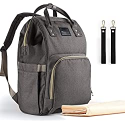 Backpack Diaper Bag Upsimples Waterproof Maternity Diaper Backpack Nappy Bag with Changing Pad and Stroller Straps for Travelling with Baby(Gray)