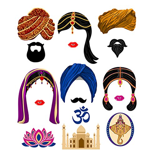 picwrap Indian Photo Booth Party Props Bollywood Indian Photo Booth Props DIY Must Cut and Glue Item Digital Print -