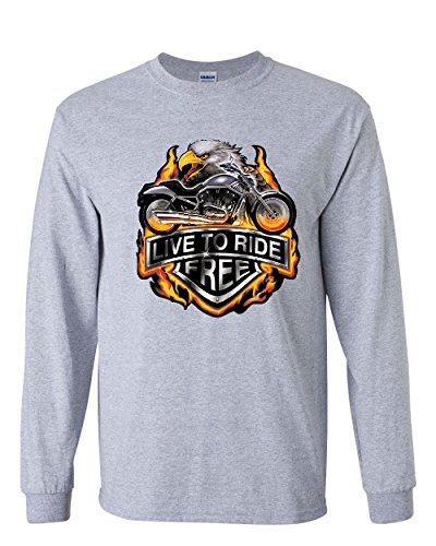 Live to Ride Long Sleeve T-Shirt Flaming Eagle & Bike Biker MC Tee Gray M Live Mens Tee