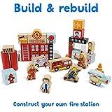 Wooden Wonders Elm Street Fire Station Blocks Playset (31pcs.) by Imagination Generation