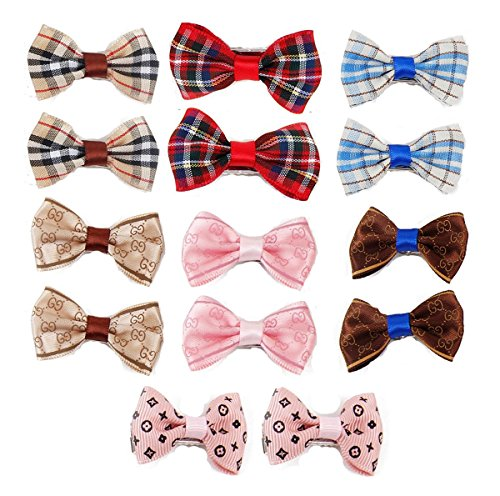 Itplus 14pcs/Pack Pet Dog Hair Clips Small Bowknot Grooming Topknot Bows Puppy Cat Hair Accessories