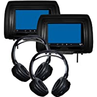 Concept CLD-703 (2)7 Headrest Monitors w/DVD Players &(2) Wireless Headphones