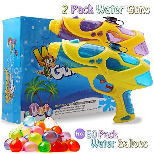 EXSPORT Water Balloons Bunches Water Balloons Fill in 60 Seconds for Water Party, Pool Party, Birthday Party, Picnics, Camps (water gun 2 Pack) ()