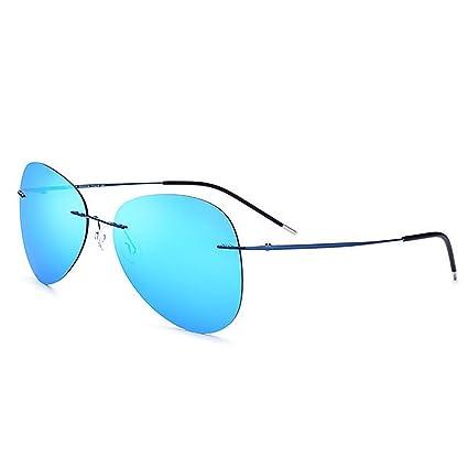 Retro Gafas de sol polarizadas sin marco TR90 de la personalidad de los hombres irregulares Gafas