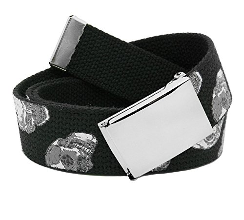 (Men's Classic Silver Flip Top Military Buckle with Canvas Web Belt X-Large Skulls Print)