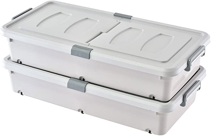 WANG YUE Caja de Almacenamiento de plástico Gris Simple y práctica con Ruedas y barandilla Un