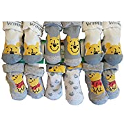 Baby Socks Licence in cotton: Mickey, Paw Patrol,Spiderman, Star wars.Assortments models photos according to arrivals (0/6 months, Pack of 6 Winnie the Pooh For boys)