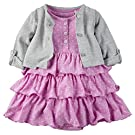 Carter's Baby Girls' 2 Piece Floral Dress Set Grey/Purple Dots-3M