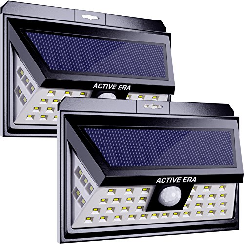 Active Era Solar Powered Wireless Outdoor 44 x LED Security Light with Motion Sensor & Waterproof Design, Bright Solar Lights for Front Door, Patio, Back Yard, Driveway, Steps & Garage (2 Pack) by Active Era
