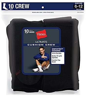 Hanes Men's Ultimate Cushion Crew Socks (10-Pack)