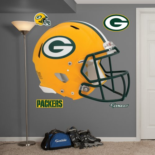 Fathead NFL Green Bay Packers Green Bay Packers: Helmet - Giant Officially Licensed NFL Removable Wall Decal