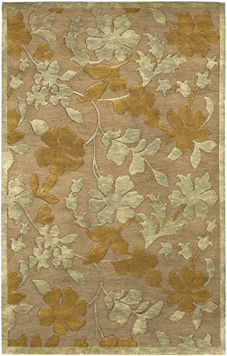 - Hardy Floral 2' x 3' Rectangle Animal 100% Semi-Worsted New Zealand Wool Camel/Dark Brown/Black Area Rug