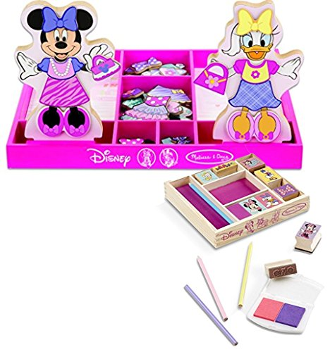 Bundle Includes 2 Items - Melissa & Doug Disney Minnie Mouse and Daisy Duck Magnetic Dress-Up Wooden Doll Pretend Play Set (45+ pcs) and Melissa & Doug Disney Minnie Mouse Wooden Stamp Set