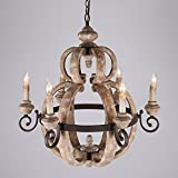 KunMai Rustic Retro Candle-Style Wood and Rust Metal Vintage Pendant Chandelier with 6 Uplight