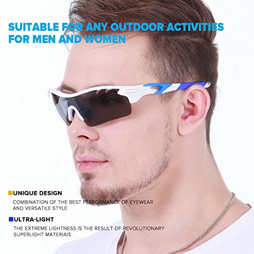 de96a7ce30 Ewin E01 Polarized Sports Sunglasses with 3 Interchangeable Lenses for Men  Women Golf Baseball Volleyball Fishing