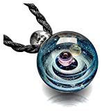 MANIFO Nebula Glass Pendant Necklace, Unique Universe Galaxy Planets Lampwork Glass Pendant Jewelry for Women Mens
