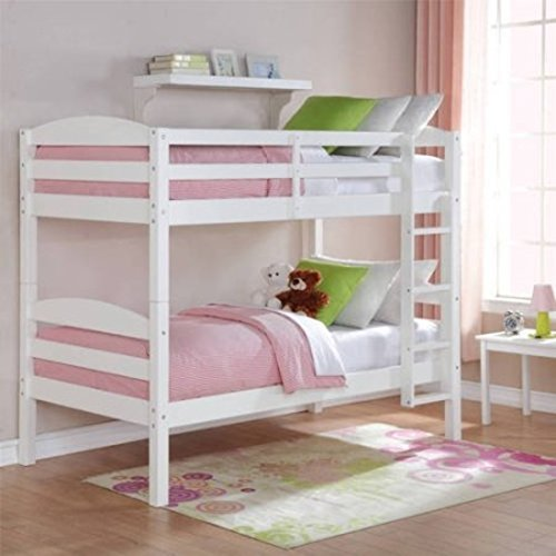 Woodcrest Pine Bed (White Standard Twin Design Wood Bunk Bed)