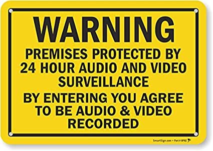 Amazon.com: Premises protected by 24 Hour de vigilancia de ...