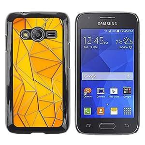 LECELL--Funda protectora / Cubierta / Piel For Samsung Galaxy Ace 4 G313 SM-G313F -- Polygon Building Gold Yellow Pattern --