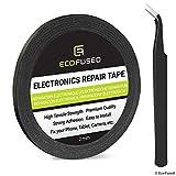 ECO-FUSED Cinta Adhesiva para la reparación de teléfonos celulares - 2mm Cinta - Tambien Incluye 1 par de Pinzas Paño de Limpieza de Microfibra (Negro)